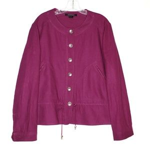 Ellen Tracy Jackets & Coats - Ellen Tracy 100% Linen Blazer Pink Purple Size 16